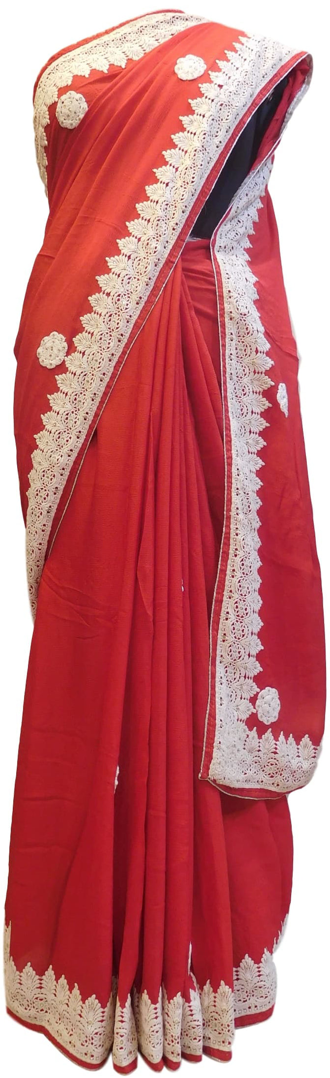 Red Designer Crepe (Chinon) Hand Embroidery Thread Stone Work Saree Sari
