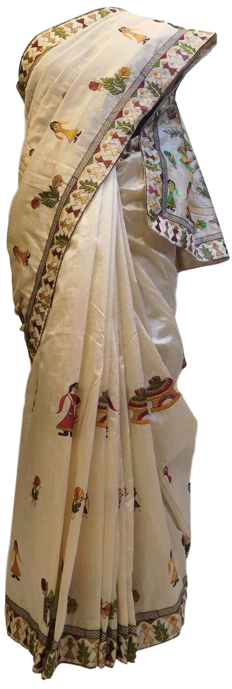 Cream Designer Silk Hand Embroidery Thread Zari Work Saree Sari