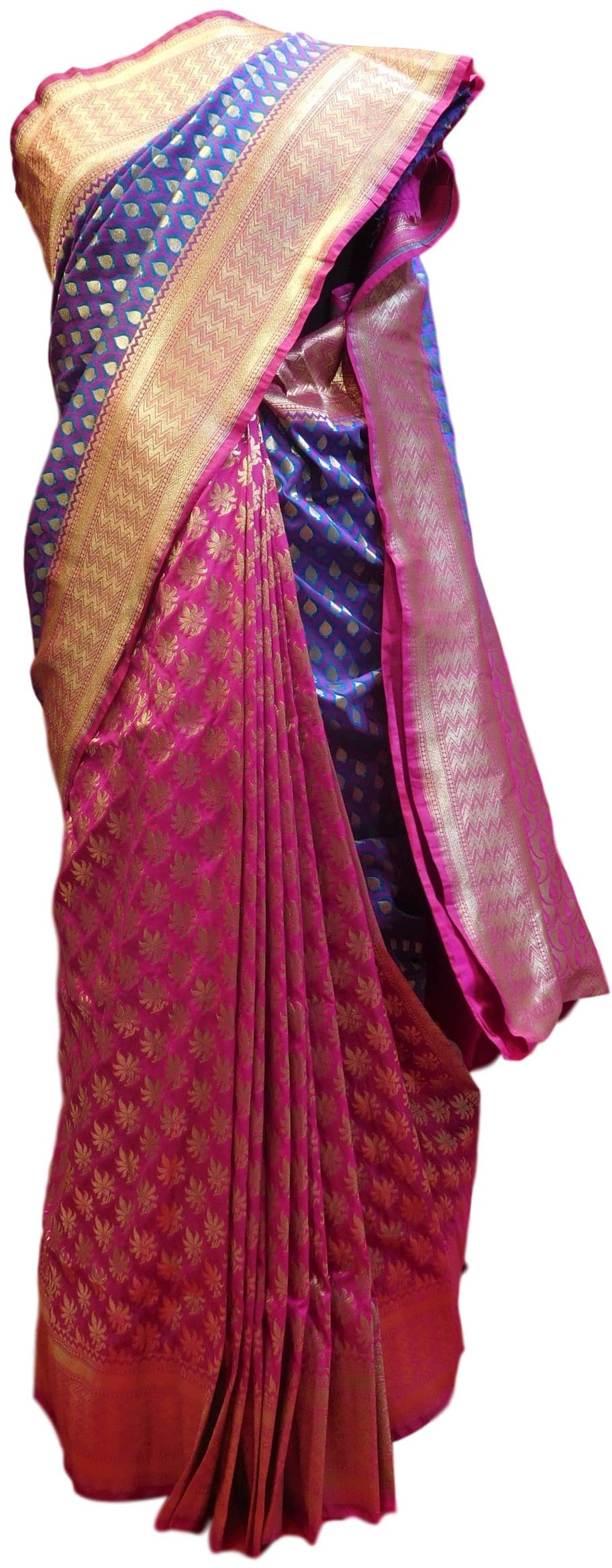 Blue & Pink Designer Bridal Hand Weaven Pure Benarasi Zari Work Saree Sari With Blouse