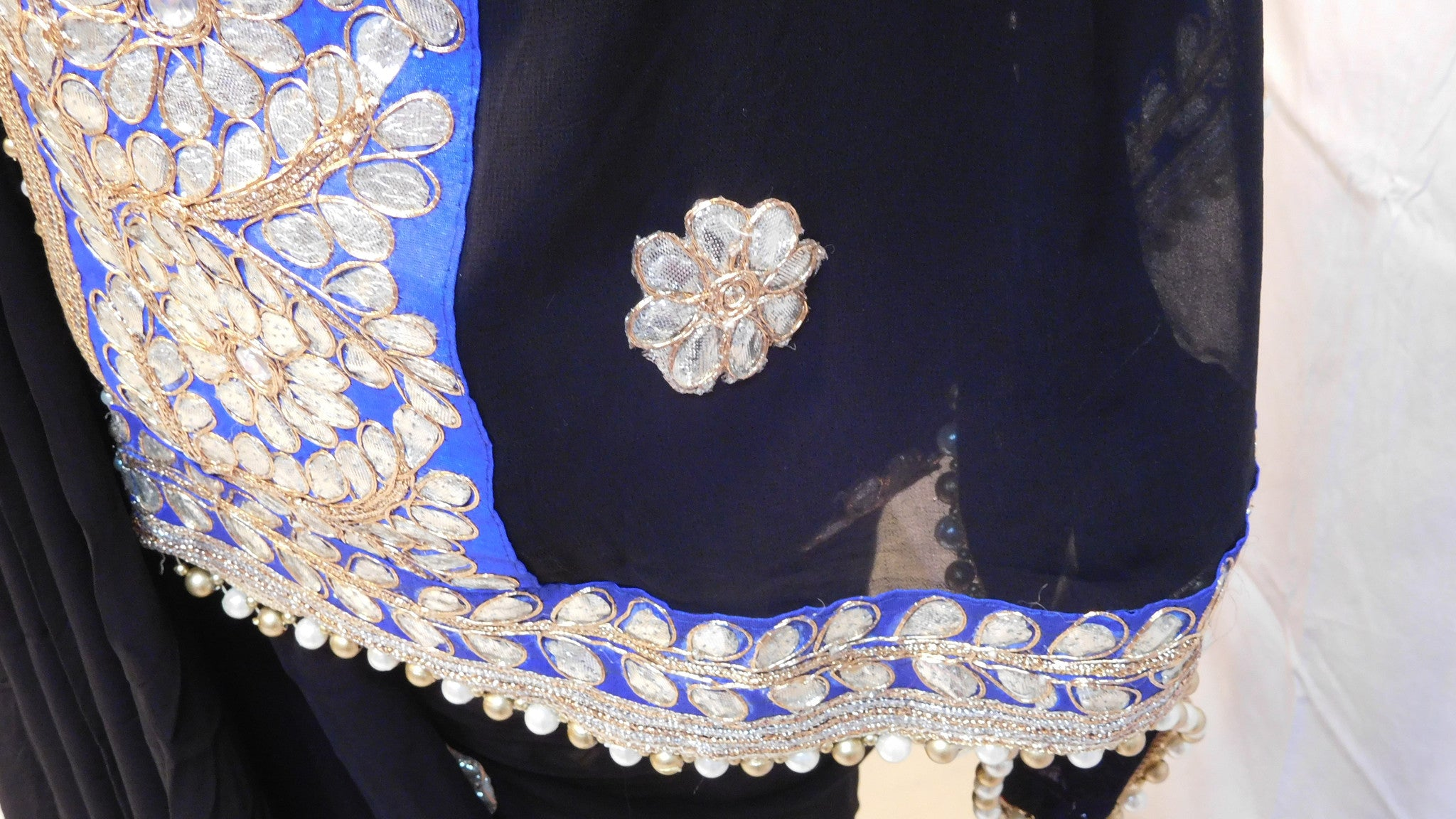 Bollywood Style Black Gota Saree With Blue Border