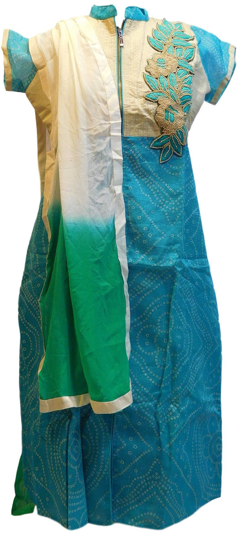 Turquoise Designer Cotton (Supernet) Kurti With Dupatta