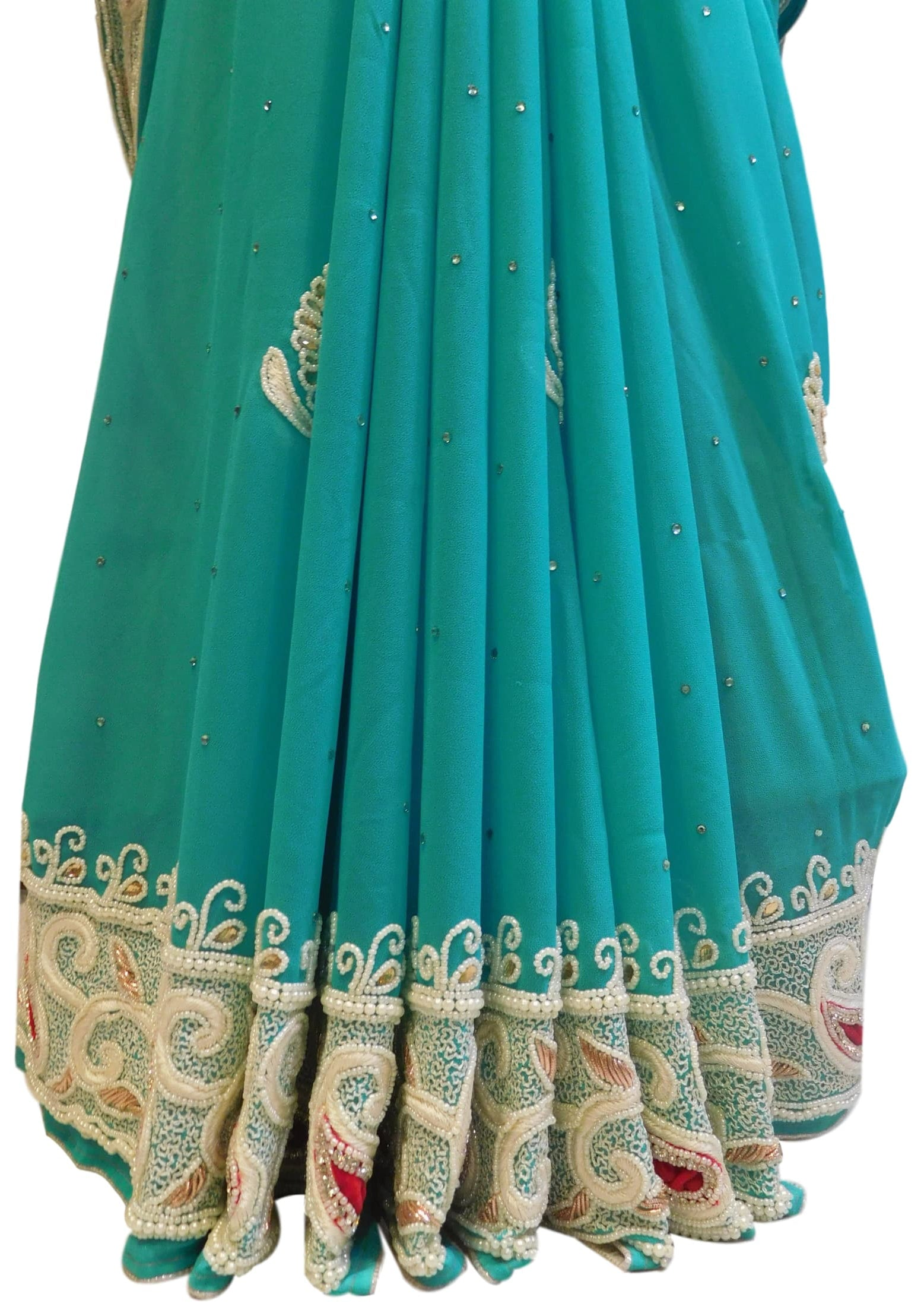 Turquoise Designer Georgette Hand Embroidery Pearl Beads Stone Bullion Work Saree Sari With Stylish Stitched Blouse