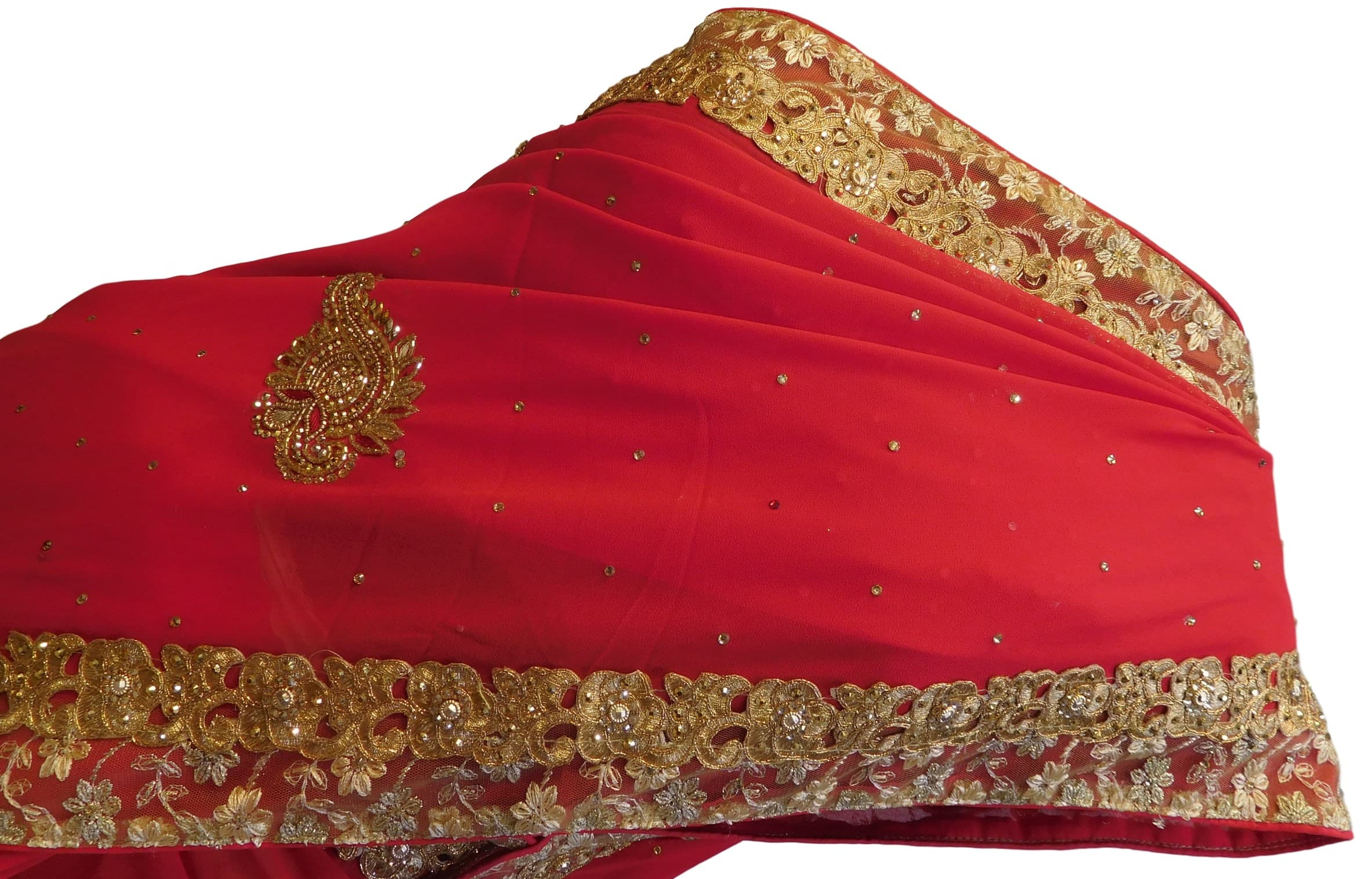 Red Designer Georgette Hand Embroidery Cutdana Thread Zari Stone Work Saree Sari