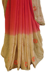 Red & Cream Designer Georgette Saree