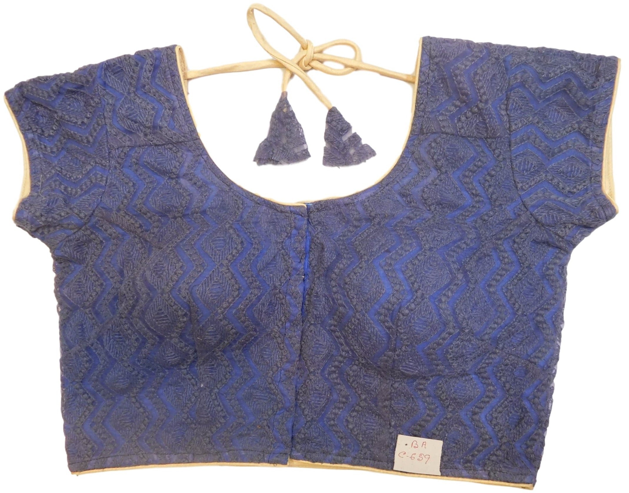 Blue Designer Net Hand Embroidery Thread Work Ready To Wear Blouse
