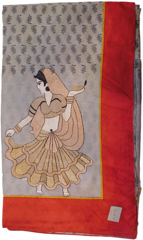 Brown Designer Pure Cotton Thread Embroidery Printed Sari With Red Border Saree