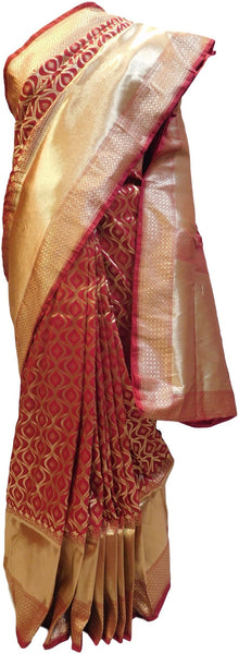 Red Traditional Designer Bridal Hand Weaven Pure Benarasi Zari Work Saree Sari With Blouse