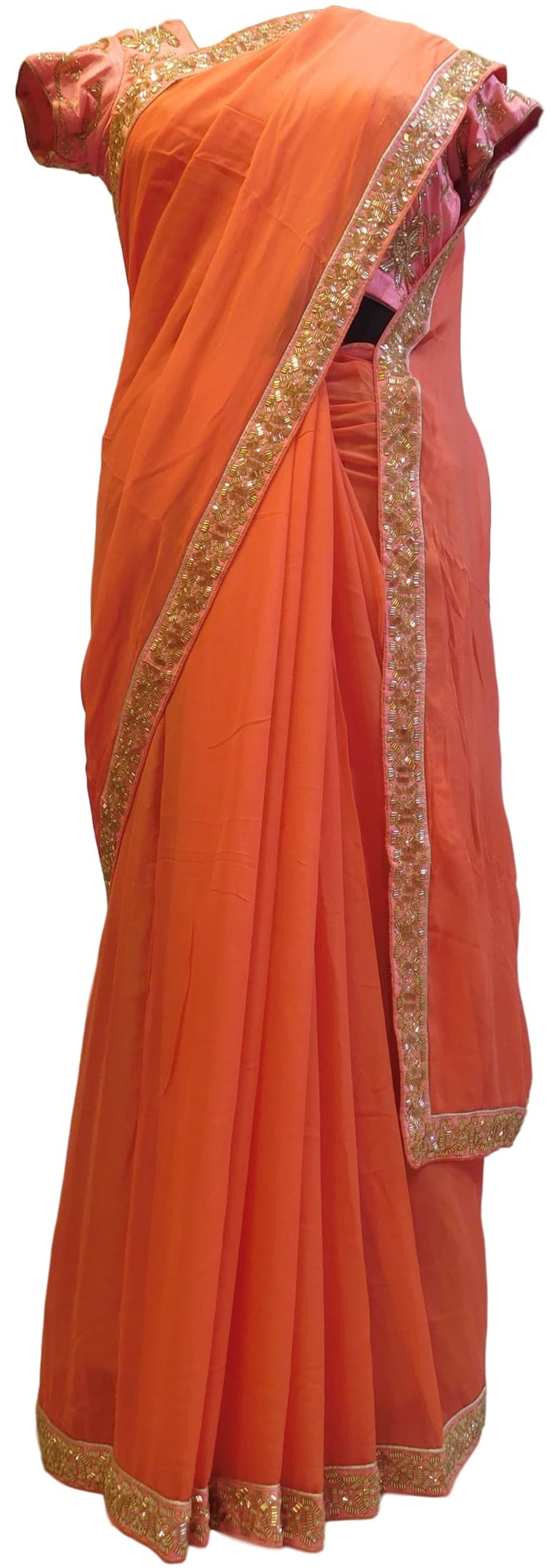 Orange Designer Georgette (Viscos) Hand Embroidery Cutdana Beads Work Saree Sari With Stylish Stitched Blouse
