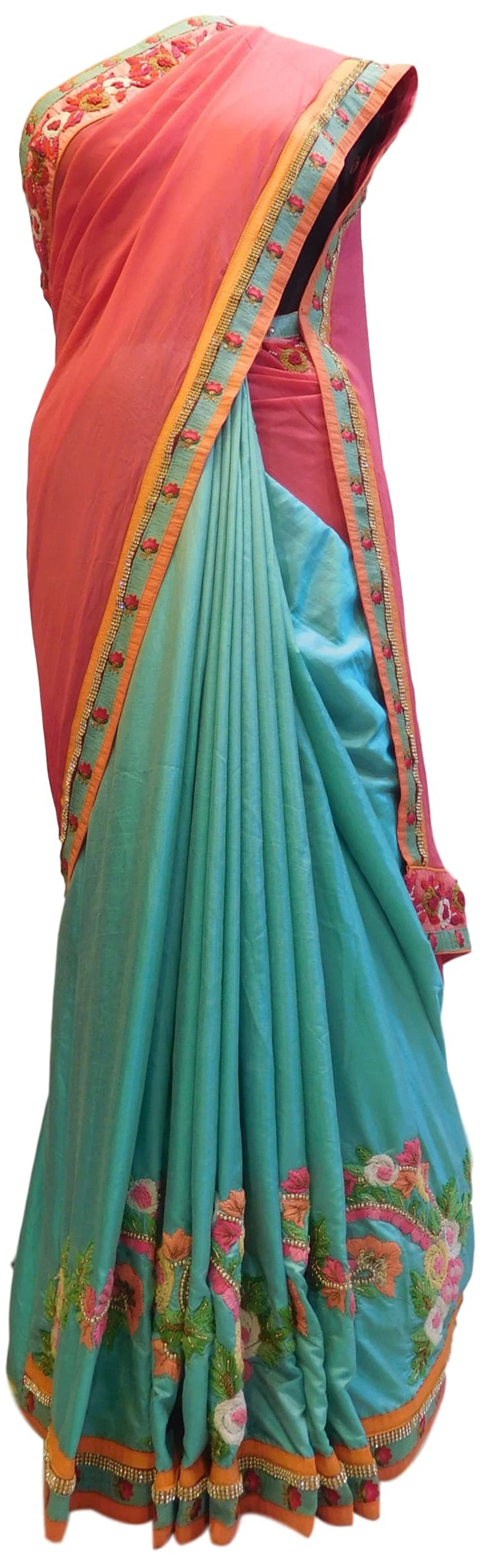 Gajari & Turquoise Designer Georgette (Viscos) & Silk Hand Embroidery Zari Thread Bullion Pearl Beads Stone Work Saree Sari
