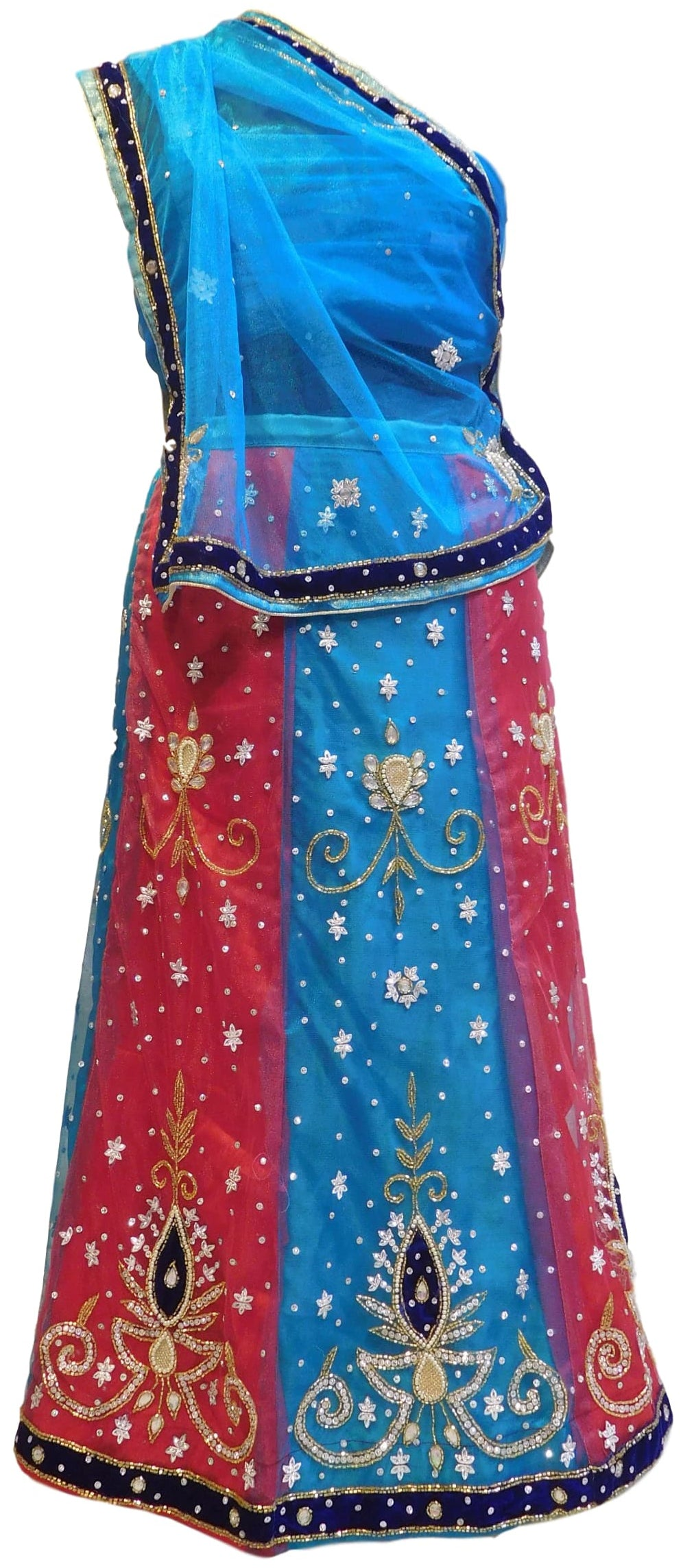 Blue & Pink Designer Kids (10-18 Years) Lahenga Hand Embroidery Work Net Lahenga With Net Dupatta & Net Blouse