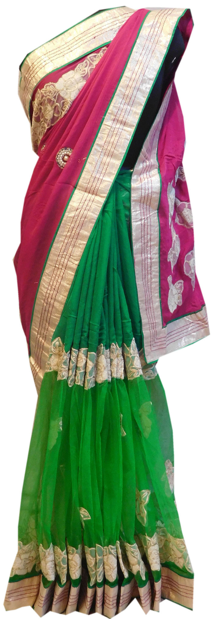 Pink Green Designer Saree