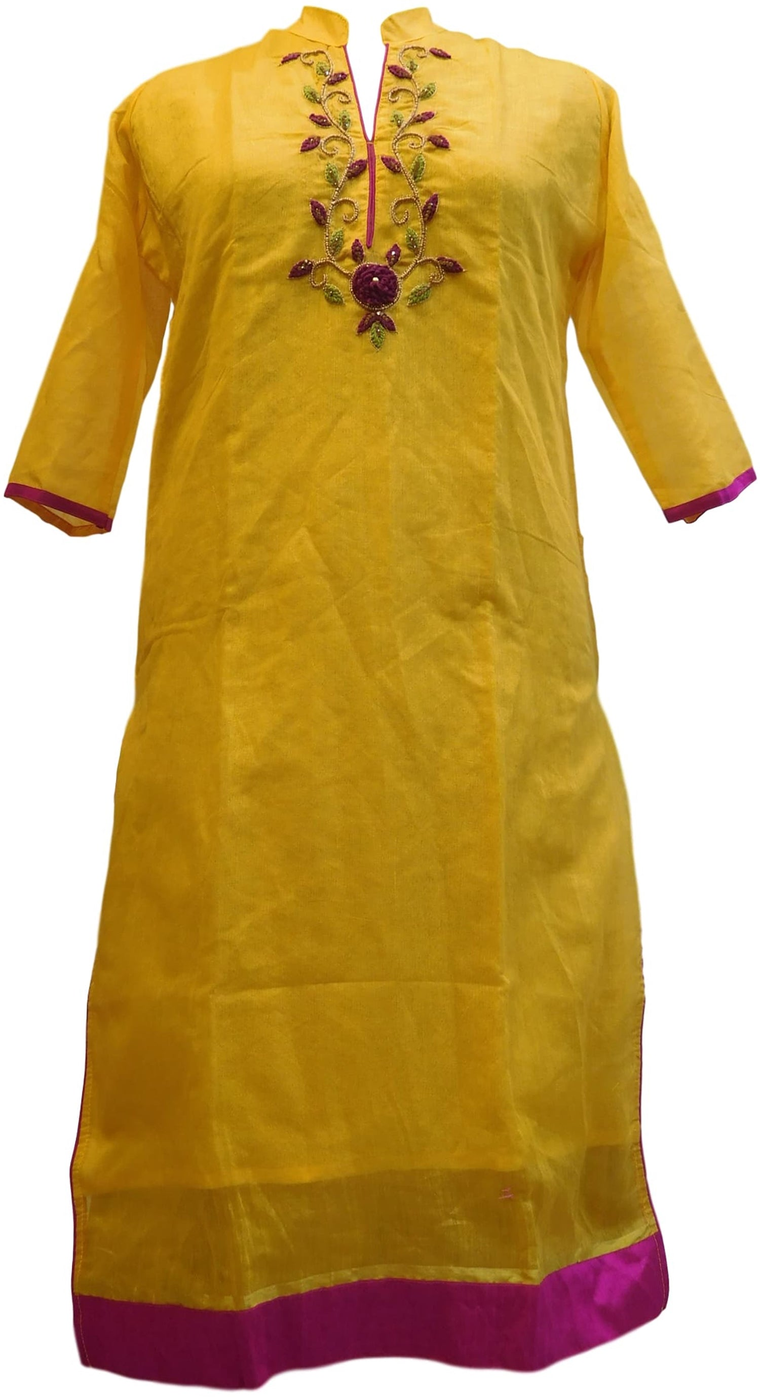 Yellow Designer Cotton (Chanderi) Hand Embroidery Zari Thread Stone Beads Work Kurti Kurta