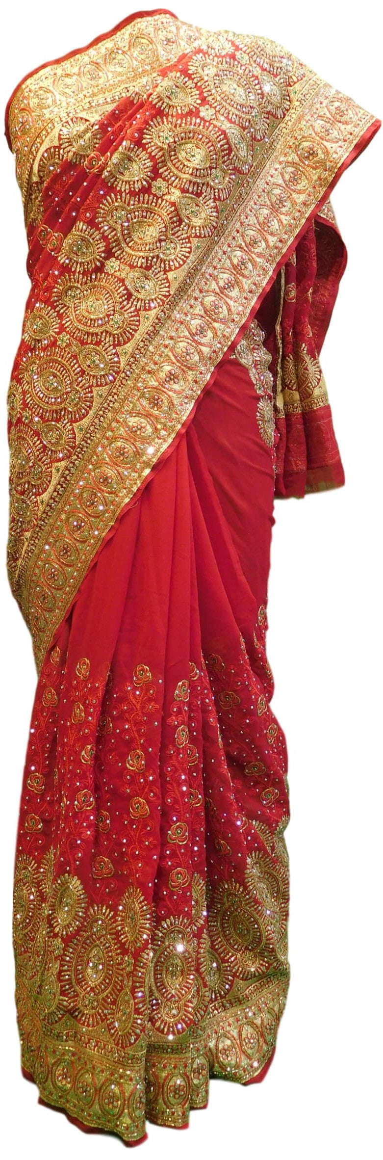 Red Bridal Jhalak Gerogette (Synthetic) Hand Embroidery Stone Border Sari Saree