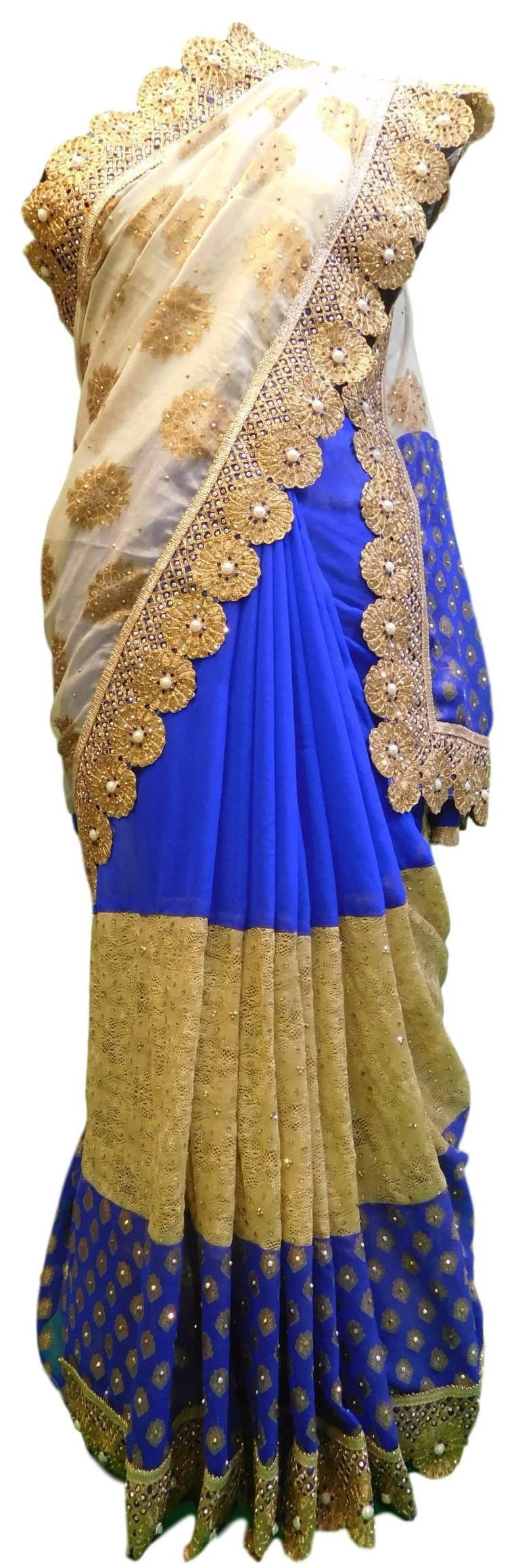 Blue & Cream Designer Georgette Hand Embroidery Stone Border Sari Saree