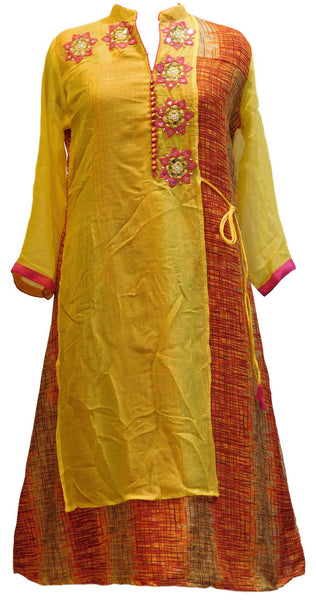 Yellow & Orrange Designer Georgette (Viscos) & Raw Silk Kurti