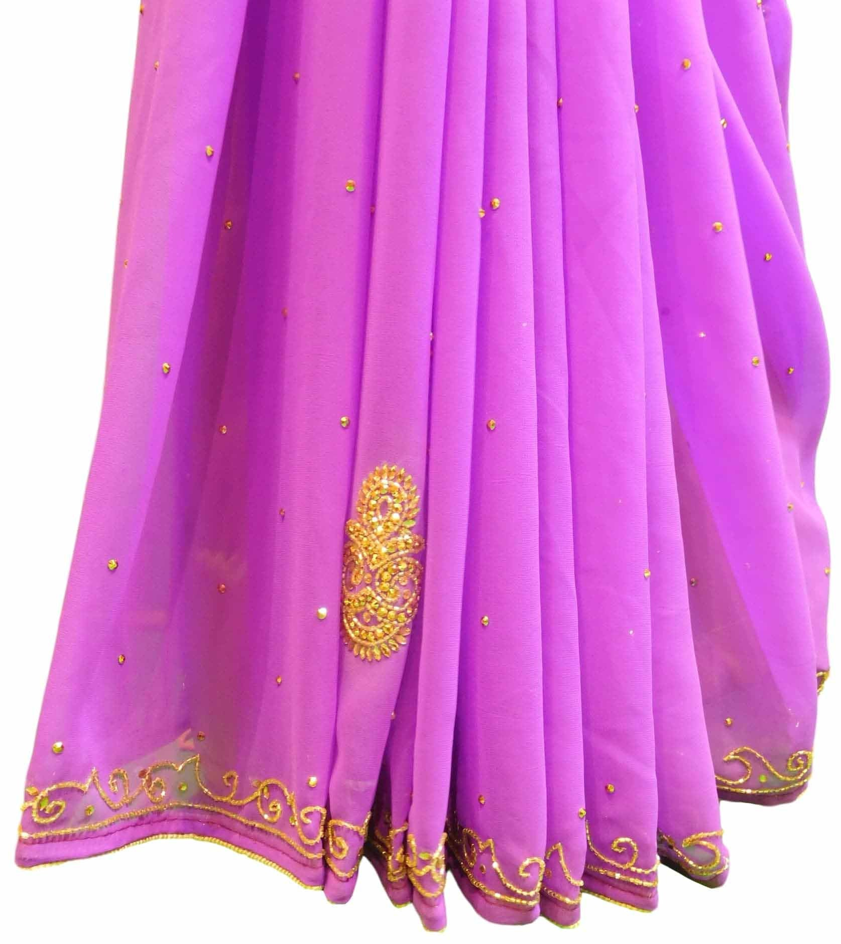 Violet Designer Georgette Sari Zari, Cutdana Thread Embroidery Work Saree