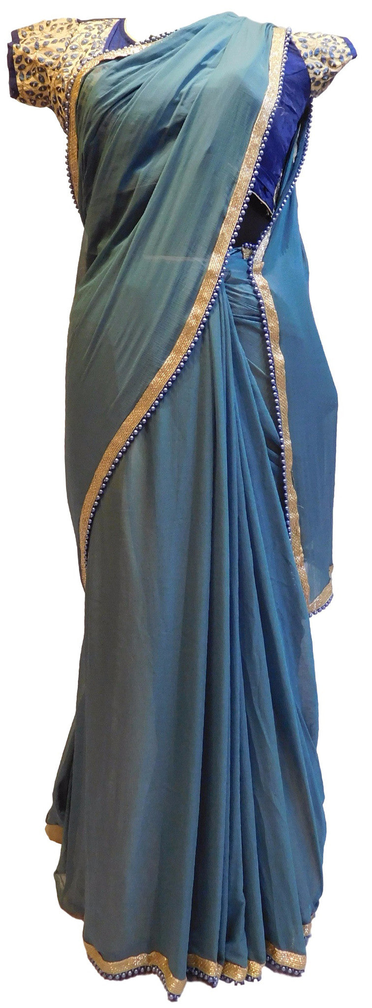 Grey Designer Chiffon Saree With Stylish Blouse