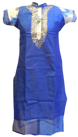 Blue White Designer Cotton (Chanderi) Kurti