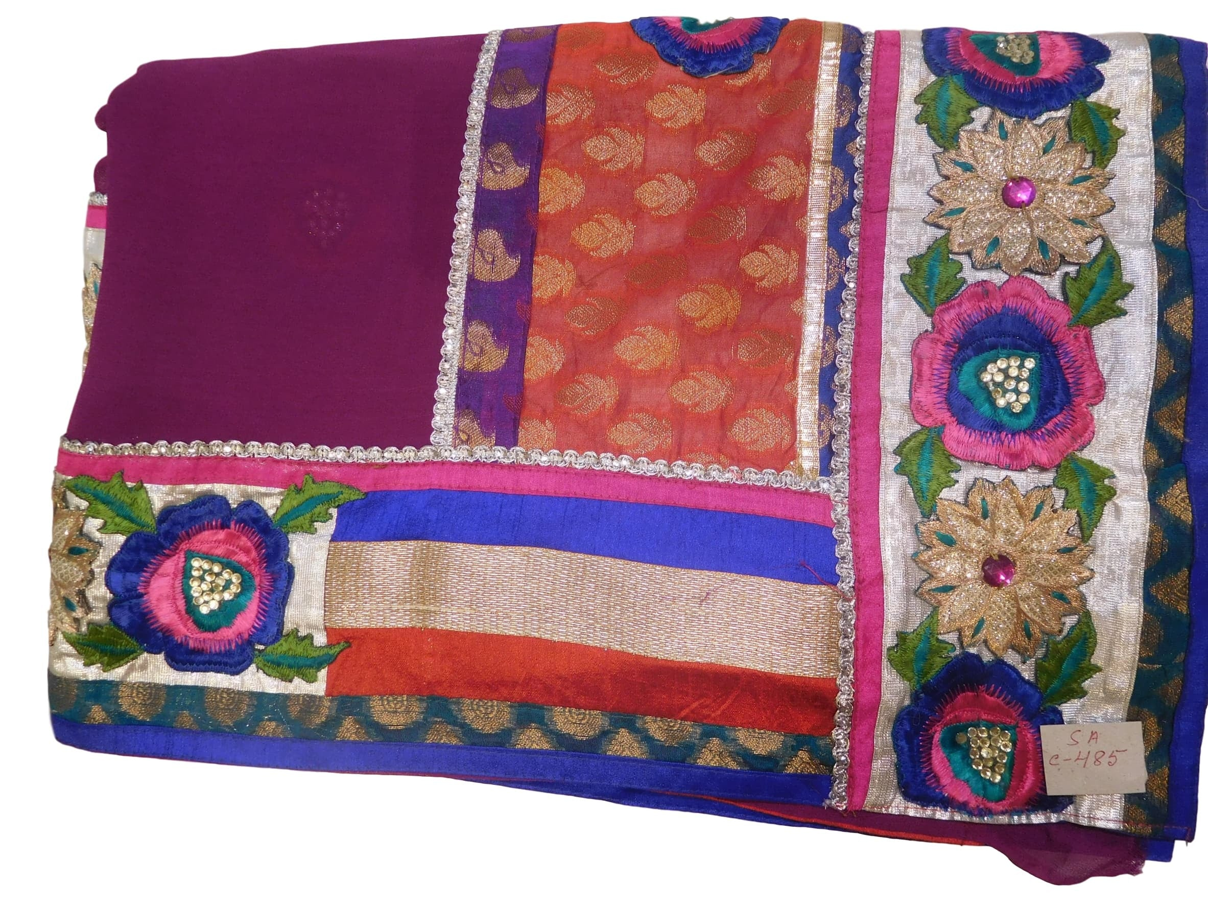Wine Designer Georgette Hand Embroidery Work Saree Sari