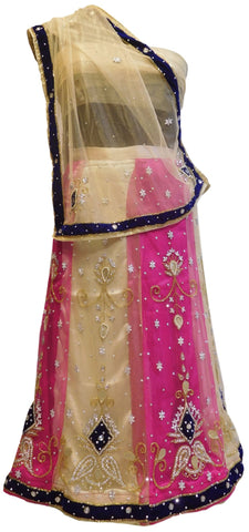 Cream & Pink Designer Kids (10-18 Years) Lahenga Hand Embroidery Work Net Lahenga With Net Dupatta & Net Blouse