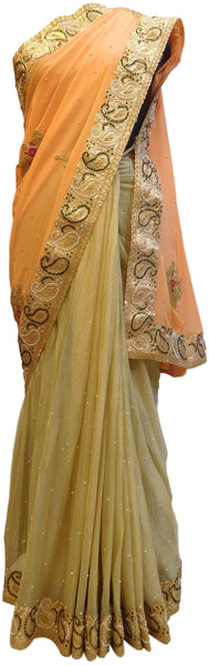 Peach & Cream Designer Georgette Hand Embroidery Zari Stone Cutdana Thread Work Saree Sari