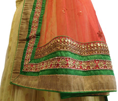 Red, Cream Designer Bridal Hand Embroidery Work Lahenga With Net Dupatta & Silk Blouse