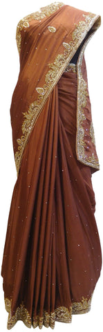 Coffee Brown Designer Crepe (Chinon) Hand Embroidery Cutdana Stone Work Saree Sari