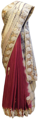 Beige Brown & Merron Designer Crepe (Chinon) Hand Embroidery Thread Pearl Zari Gota Stone Work Saree Sari