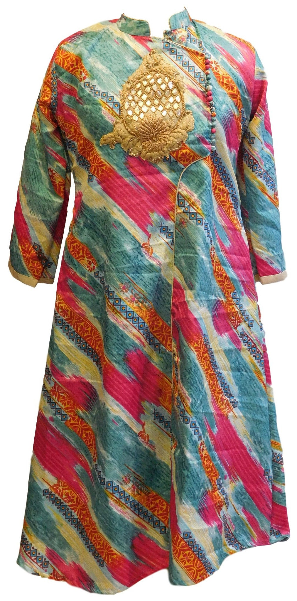 Mulicolor Designer Cotton (Chanderi) Kurti