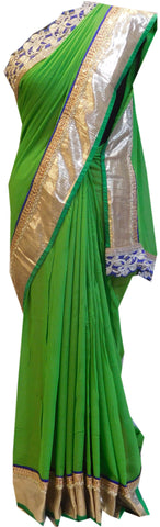 Green Designer Georgette (Viscos) Hand Embroidery Stone Cutdana Bullion Beads Zardoji Thread Saree Sari