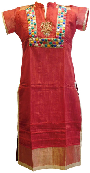 Red Designer Cotton (Supernet) Kurti
