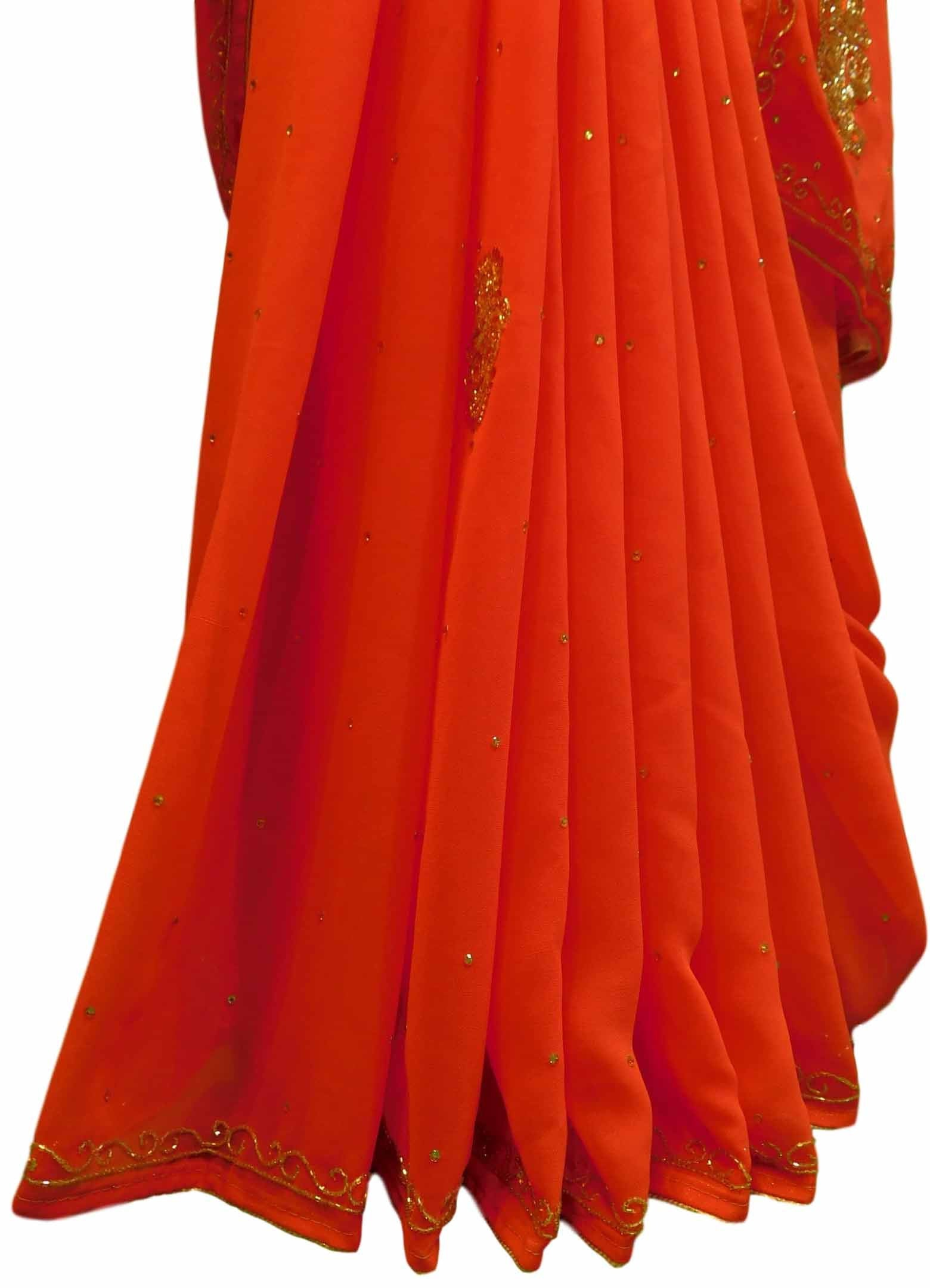 Gajari Designer Georgette Sari Zari, Cutdana Thread Embroidery Work Saree