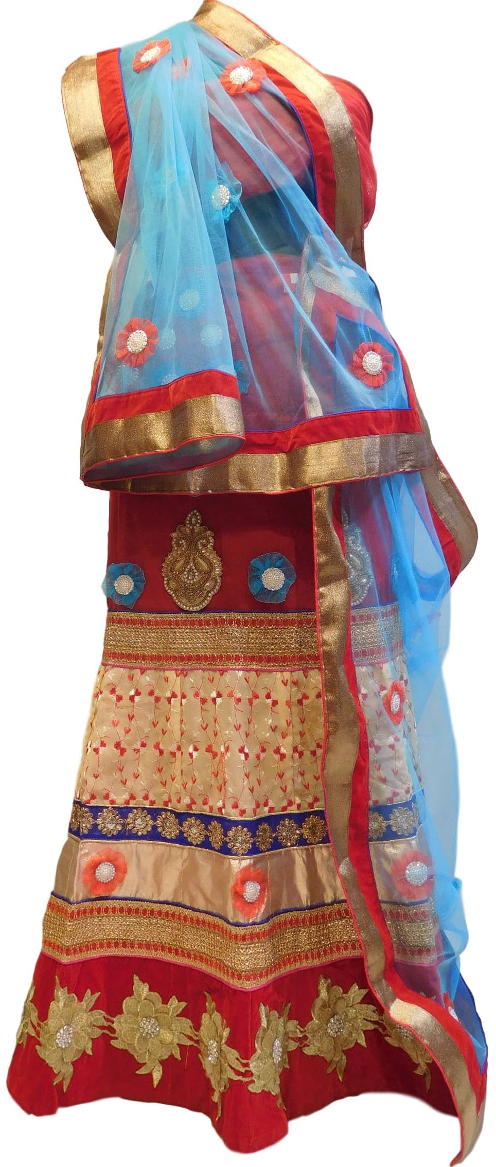 Red & Blue Designer Bridal Hand Embroidery Work Lahenga With Net Dupatta & Blouse