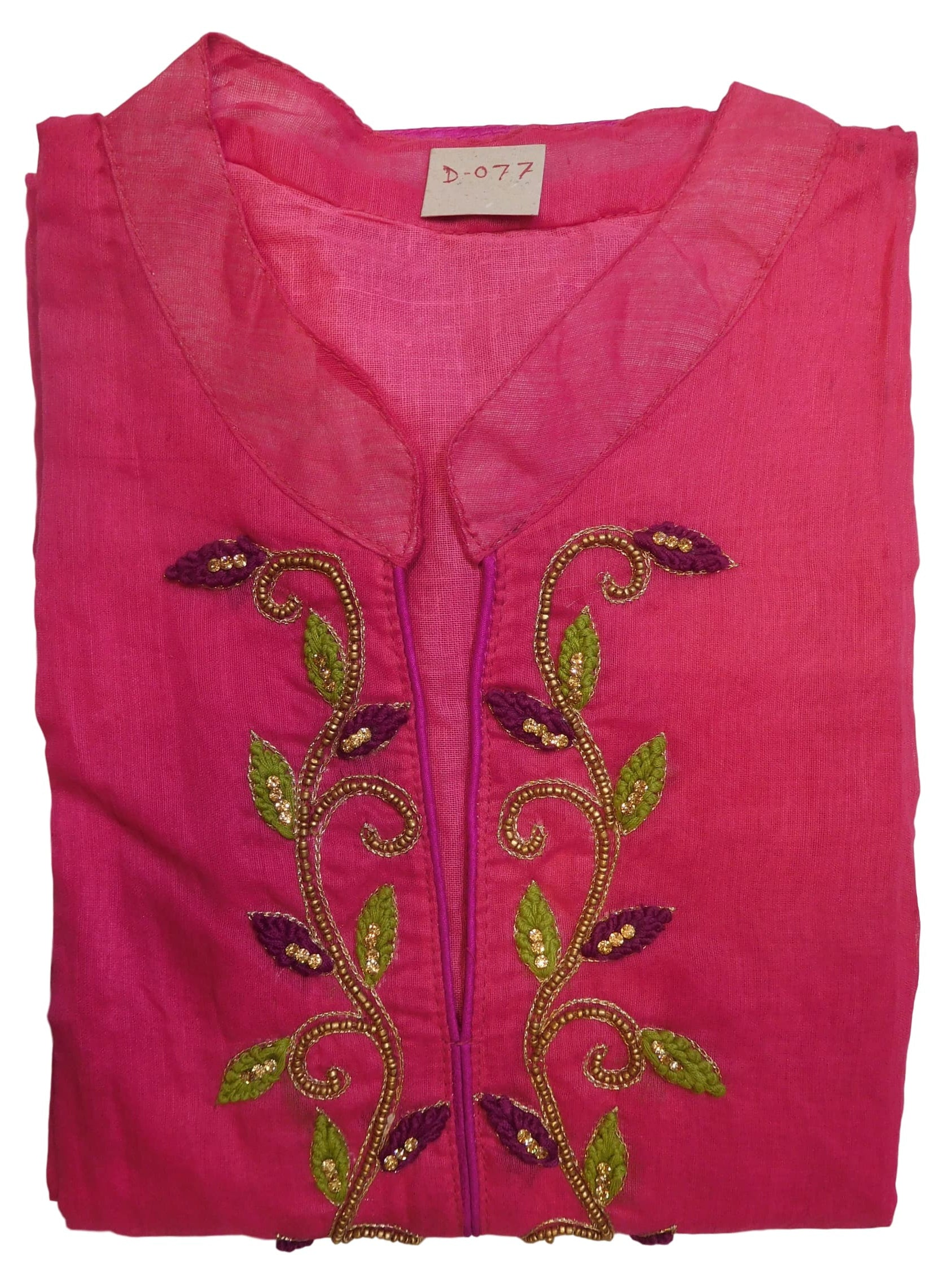 Pink Designer Cotton (Chanderi) Hand Embroidery Zari Thread Stone Beads Work Kurti Kurta