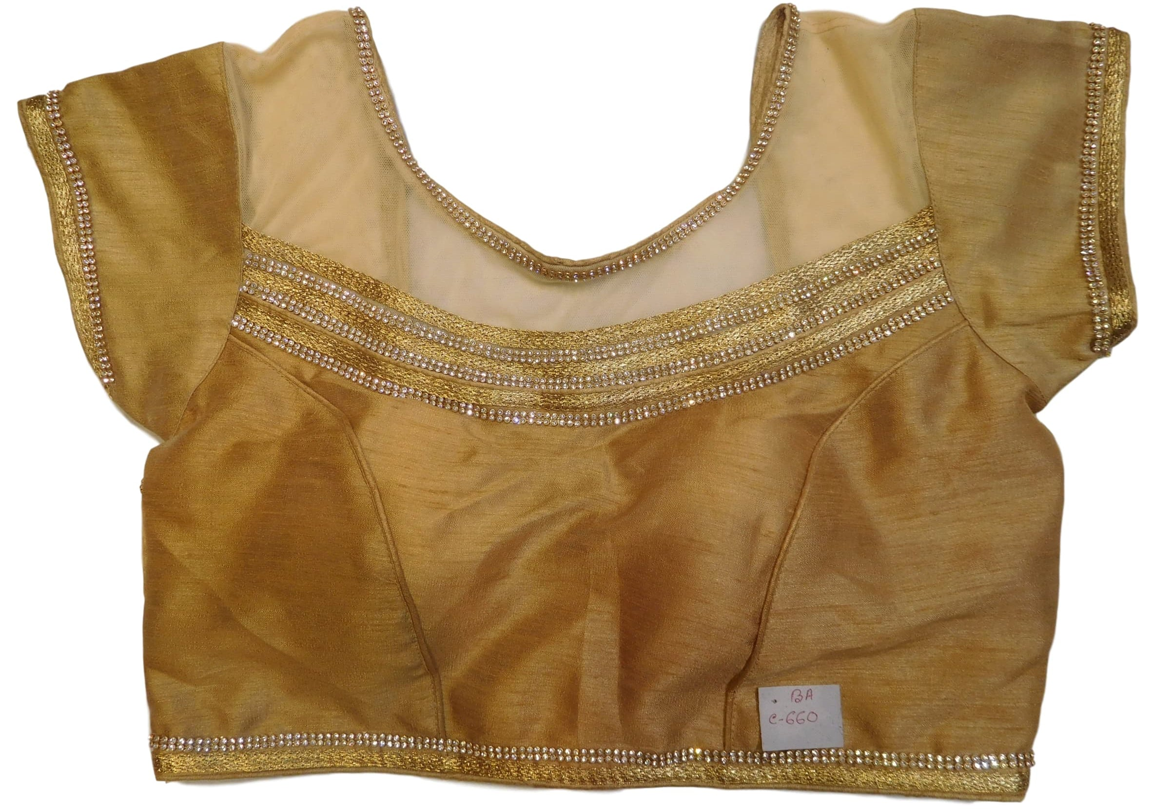 Golden Designer Silk Net Hand Embroidery Stone Zari Work Ready To Wear Stitched Blouse