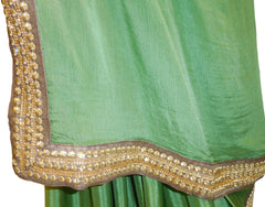 Green Designer Crepe Saree With Designer Blouse