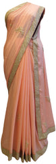 Baby Pink Designer Georgette (Viscos) Hand Embroidery Cutdana Sequence Thread Pearl Work Saree Sari