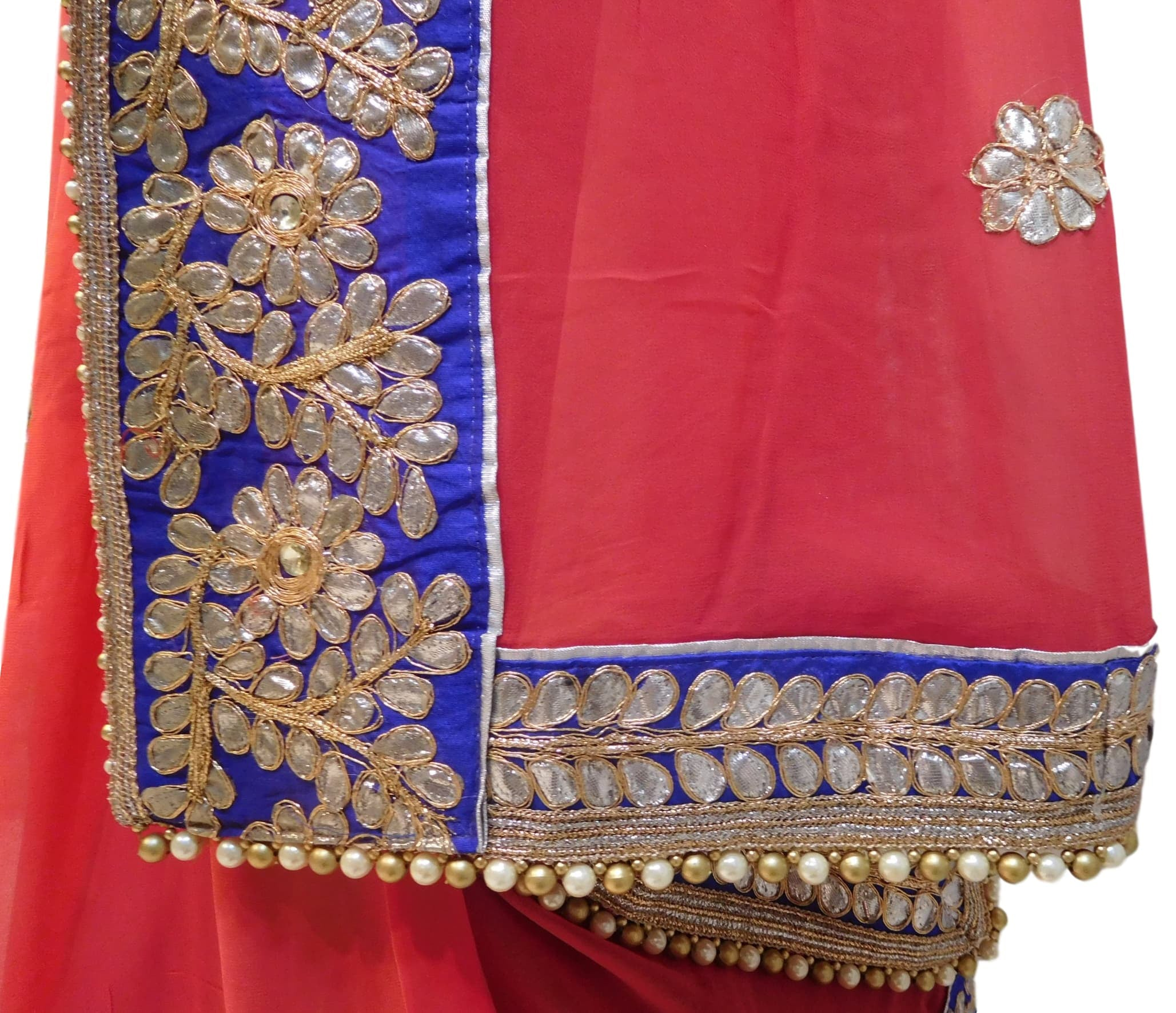 Bollywood Style Gajari Gota Saree With Blue Border With Pearl Lace Sari