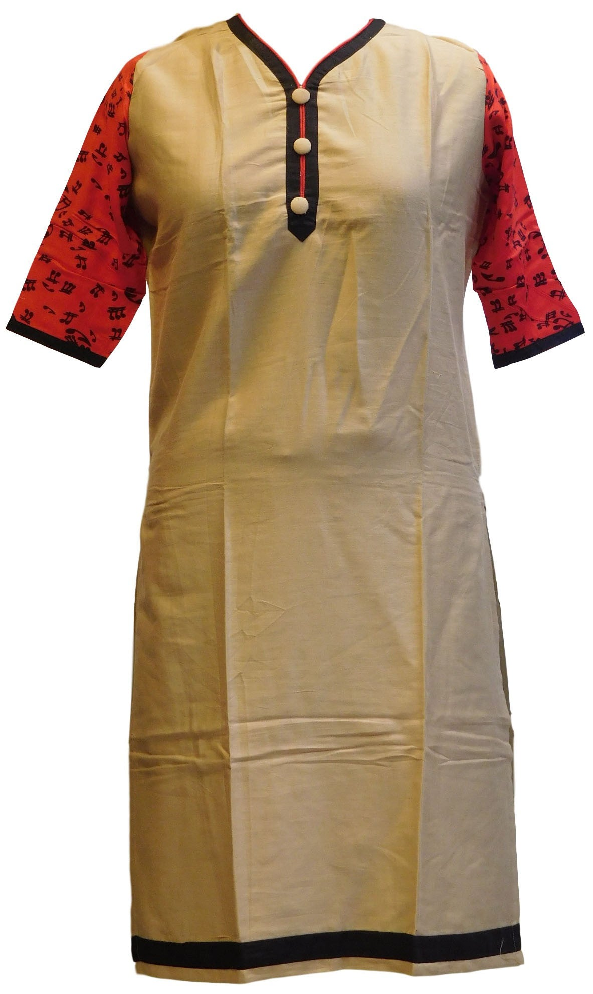 Red, Cream & Black Designer Cotton (Chanderi) Printed Kurti
