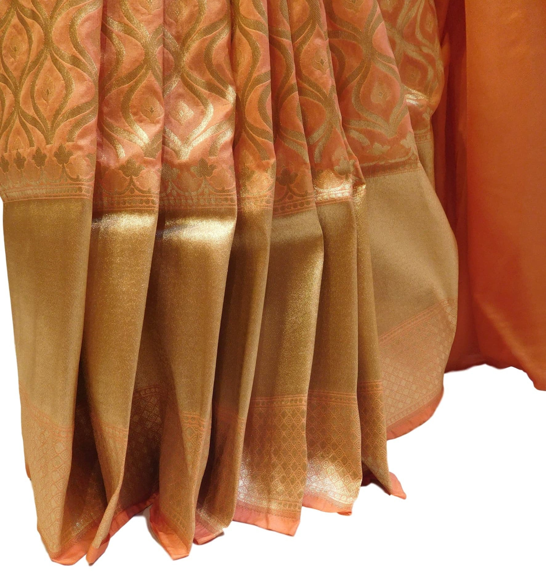 Peach Traditional Designer Bridal Hand Weaven Pure Benarasi Zari Work Saree Sari With Blouse