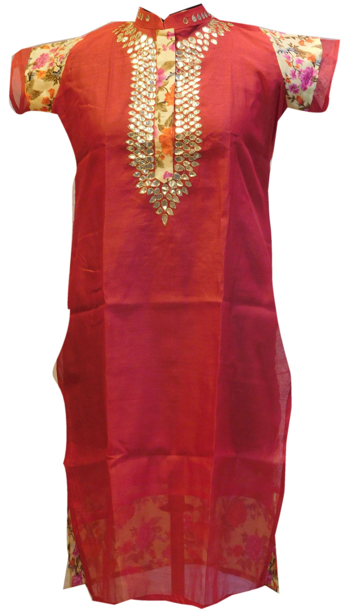 Red Yellow Designer Cotton (Chanderi) Kurti