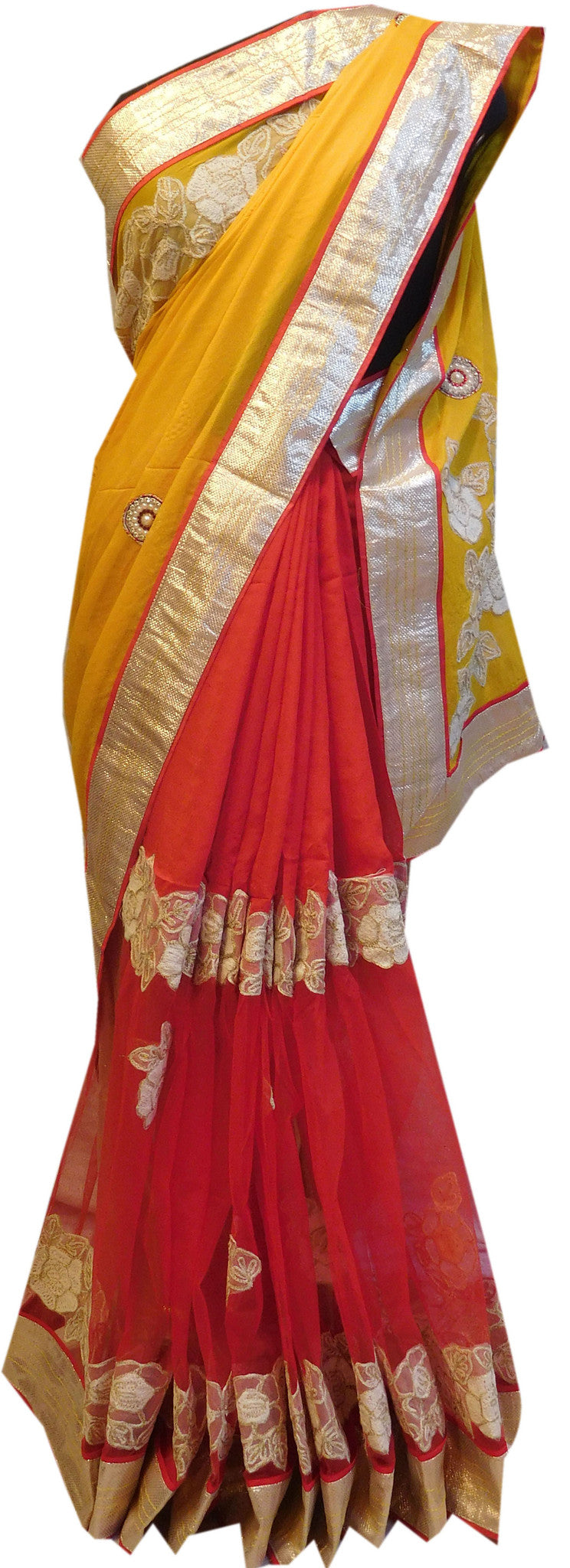 Yellow Red Designer Saree