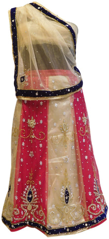 Cream & Gajari Designer Kids (10-18 Years) Lahenga Hand Embroidery Work Net Lahenga With Net Dupatta & Net Blouse