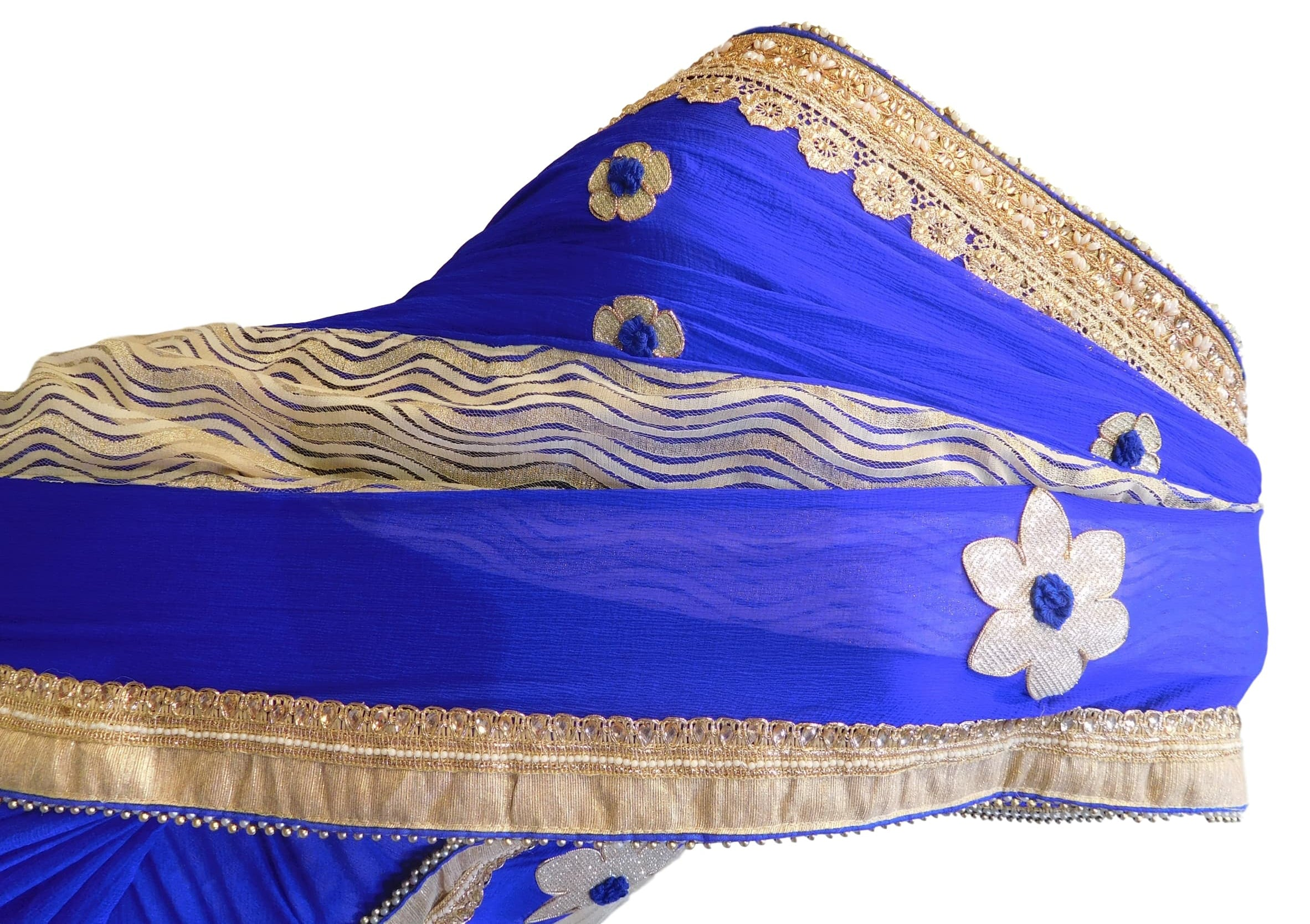 Blue & Cream Designer Georgette (Viscos) Hand Embroidery Zari Pearl Stone Work Saree Sari