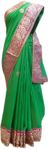 Bollywood Style Green Gota Saree With Pink Border With Pearl Lace Sari