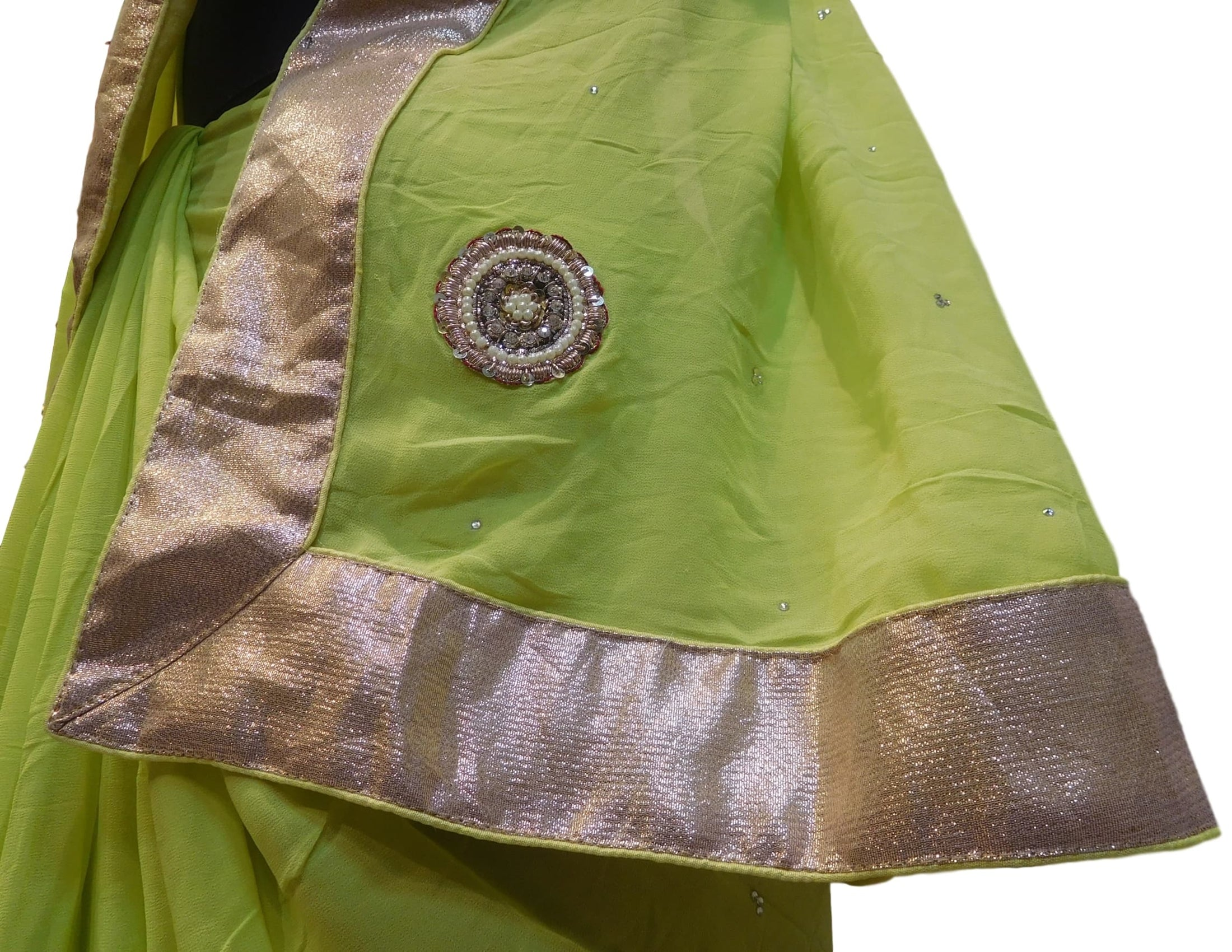 Mehndi Green Designer Georgette (Viscos) Hand Embroidery Pearl Beads Stone Bullion Sequence Work Saree Sari