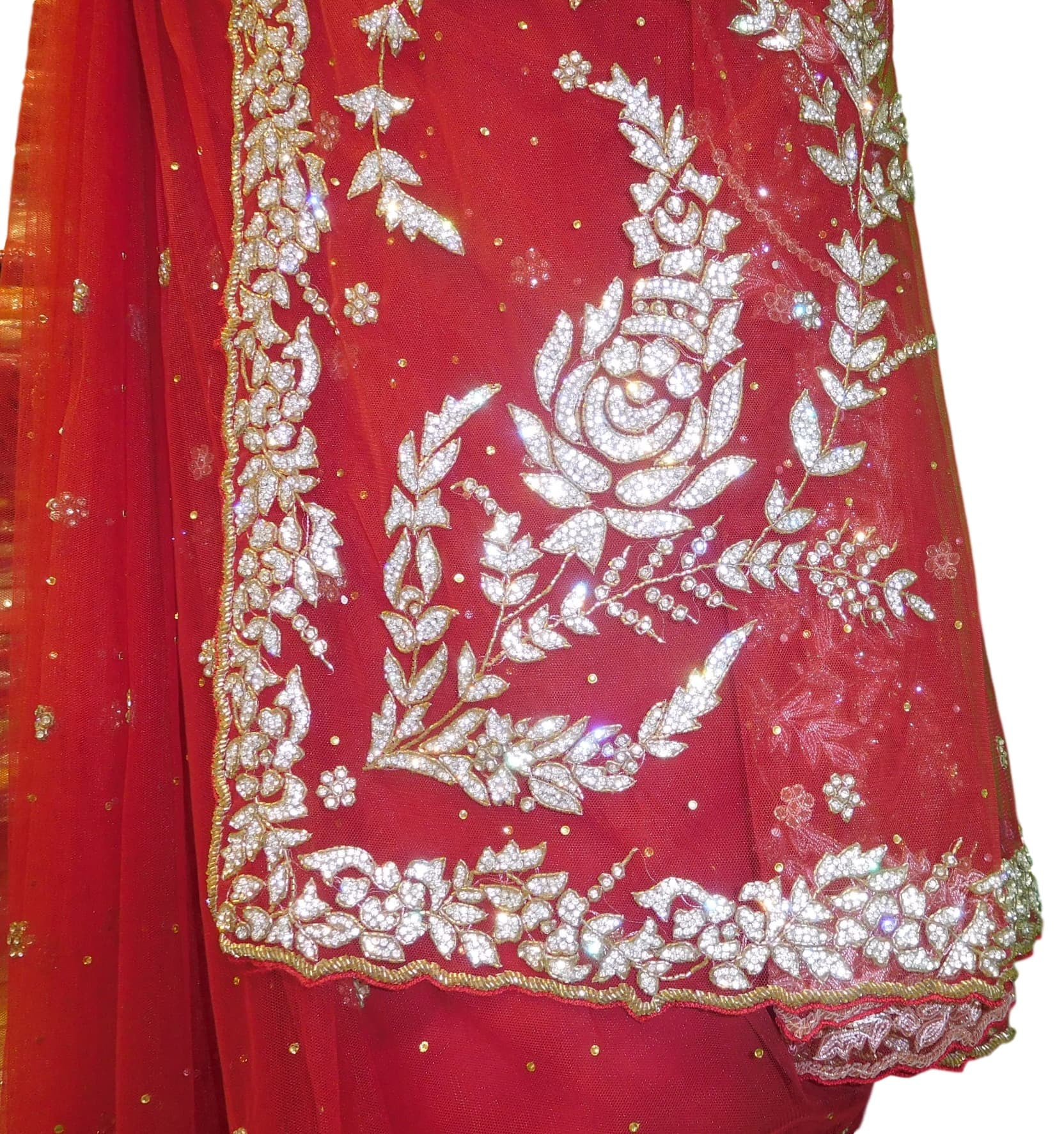 Red Bridal Designer Hand Embroidery Net Sari With Cutwork Border Saree