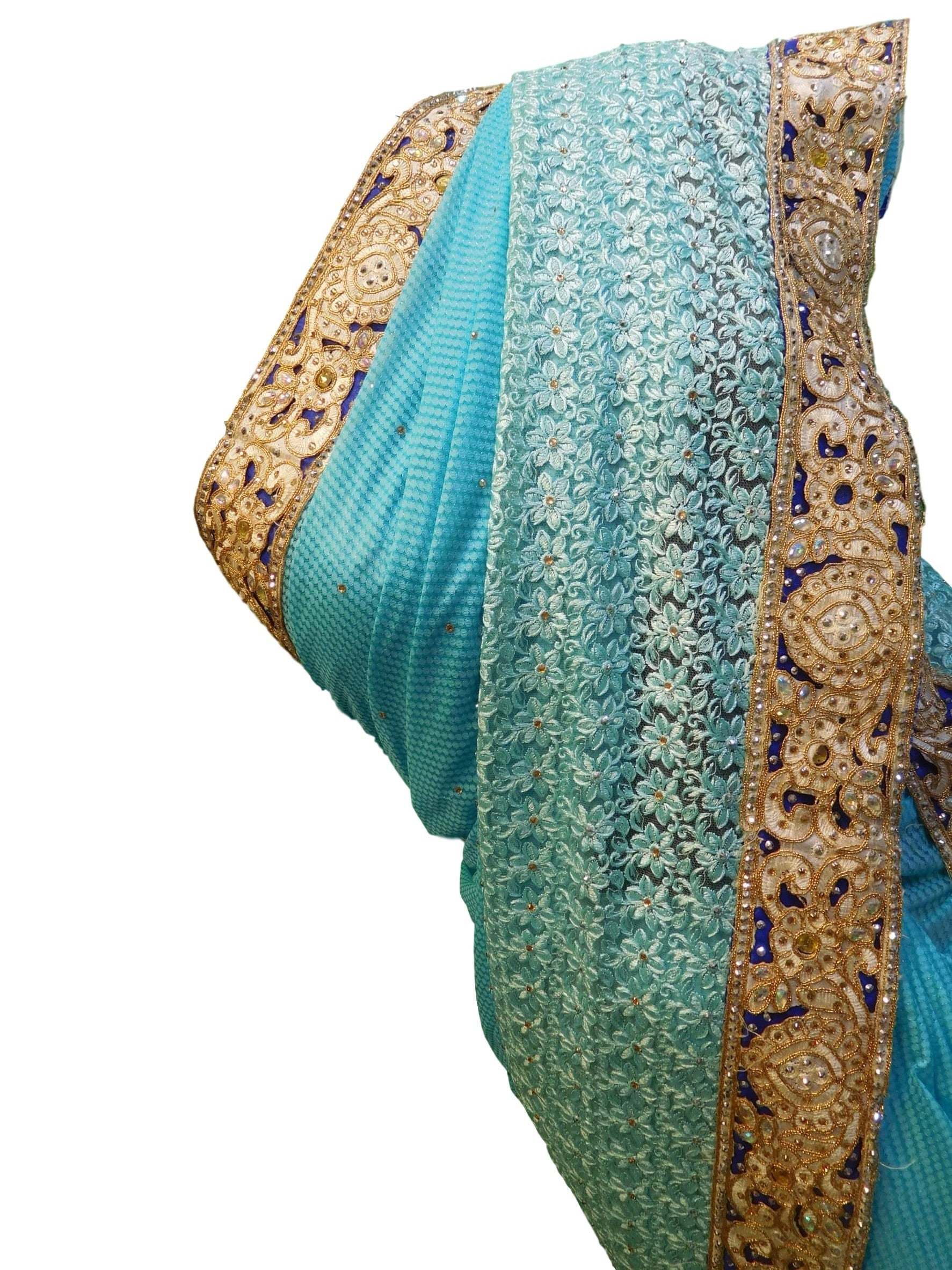 Blue Designer Net Hand Embroidery Stone Border Sari Saree