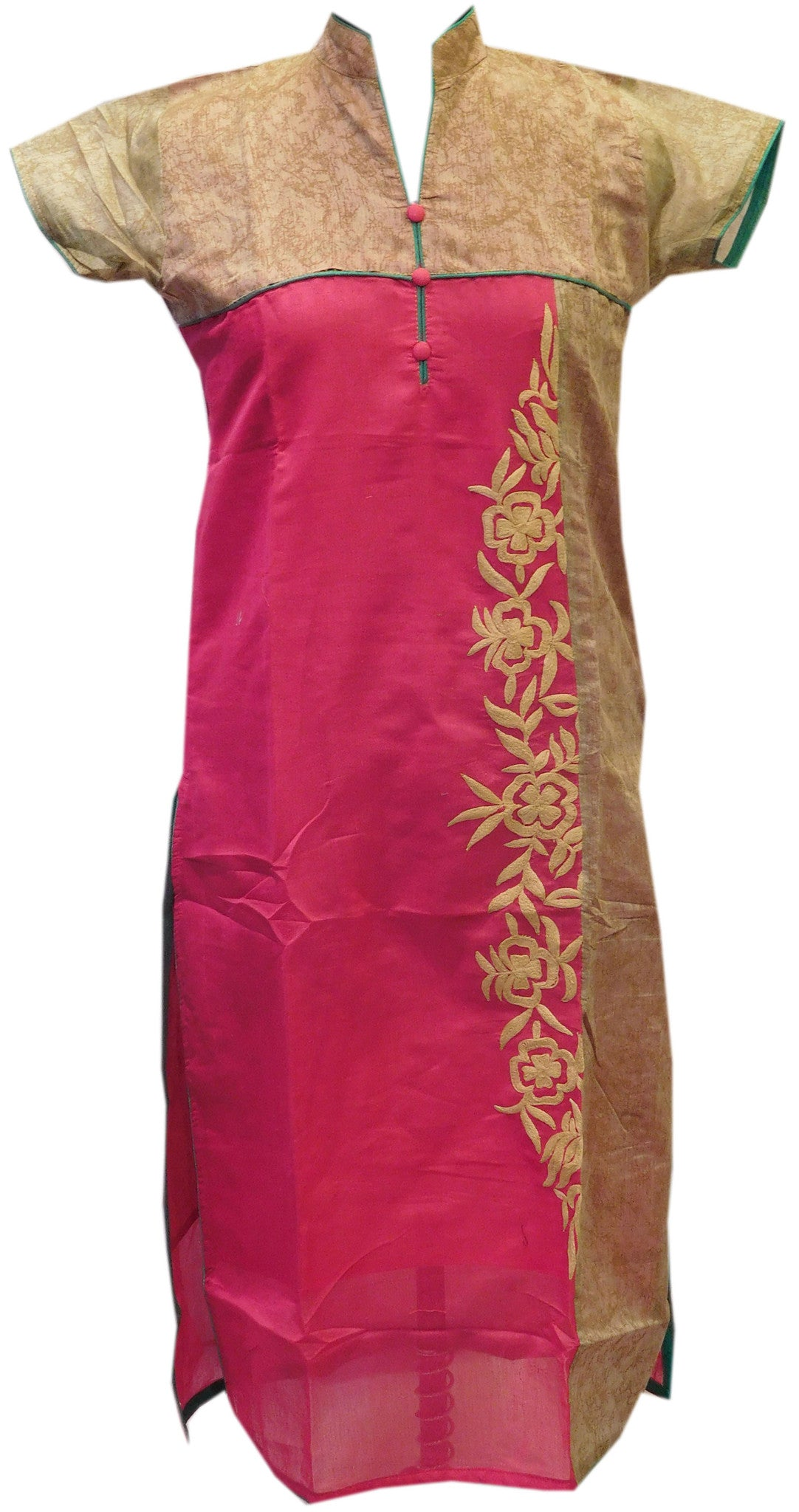 Magenta Designer Cotton (Chanderi) Kurti