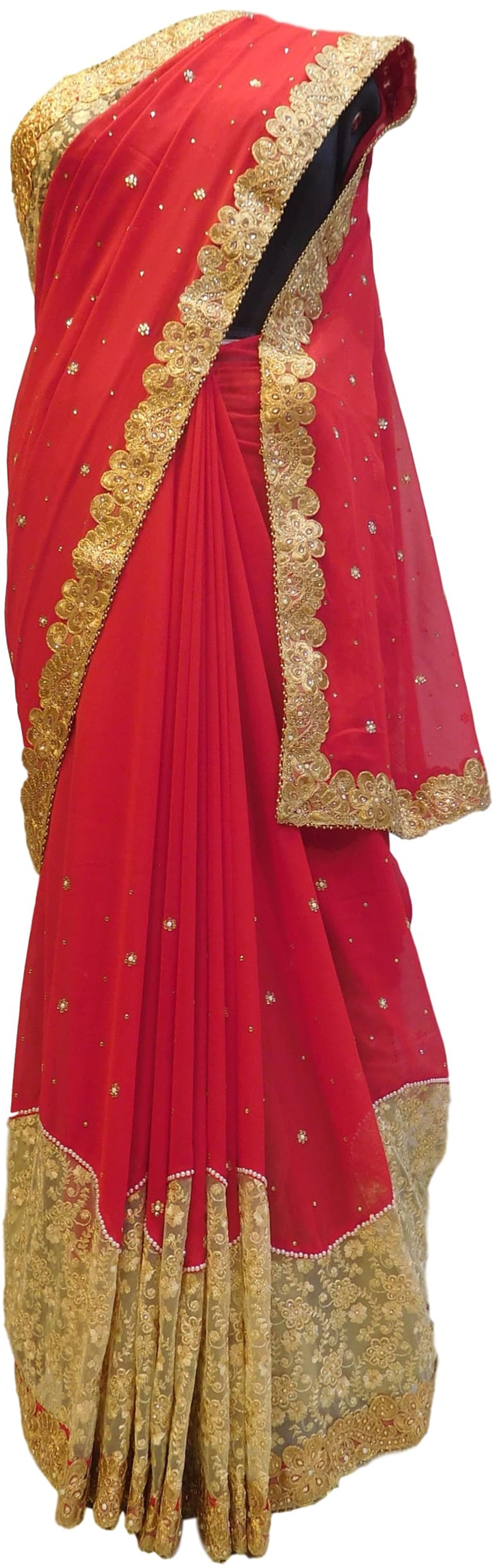Red & Cream Designer Georgette Hand Embroidery Zari Pearl Thread Stone Work Saree Sari